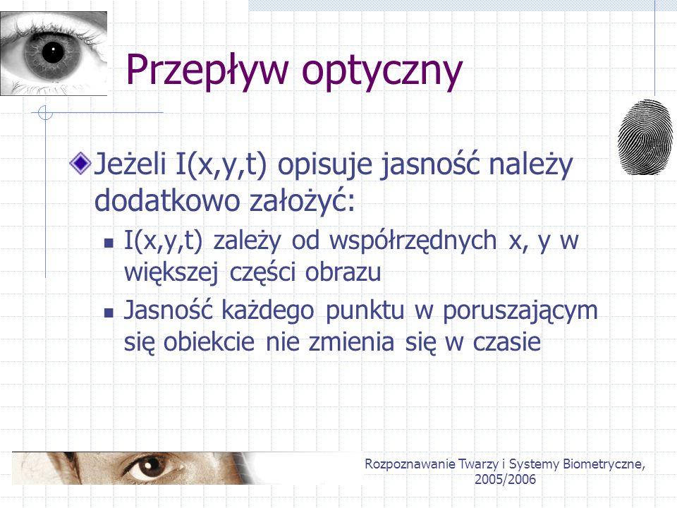Rozpoznawanie Twarzy i Systemy Biometryczne, 2005/2006 Przepływ optyczny Jeżeli I(x,y,t) opisuje jasność należy dodatkowo założyć: I(x,y,t) zależy od