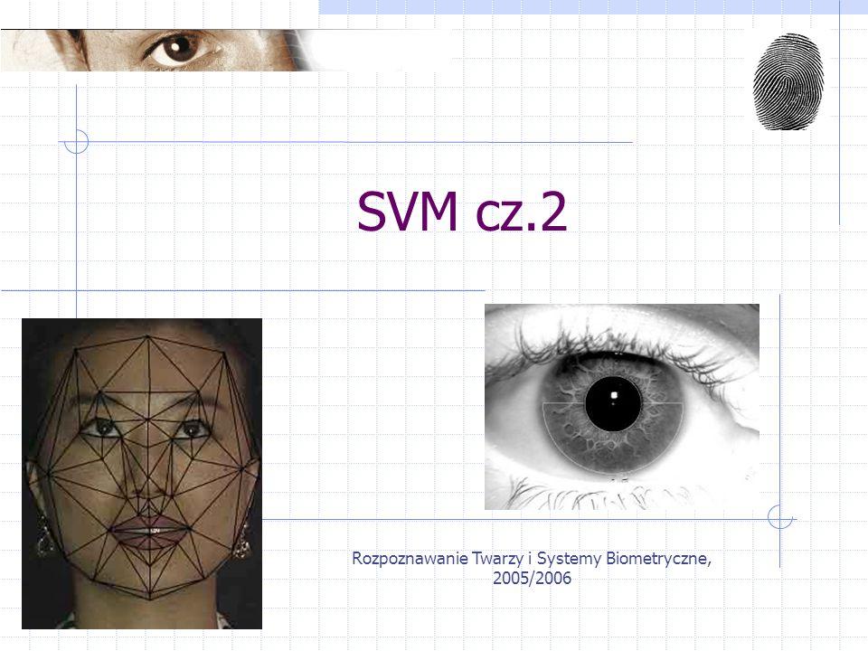 Rozpoznawanie Twarzy i Systemy Biometryczne, 2005/2006 Plan wykładu Przypomnienie i demonstracja Klasyfikacja wieloklasowa Zastosowania w rozpoznawaniu twarzy
