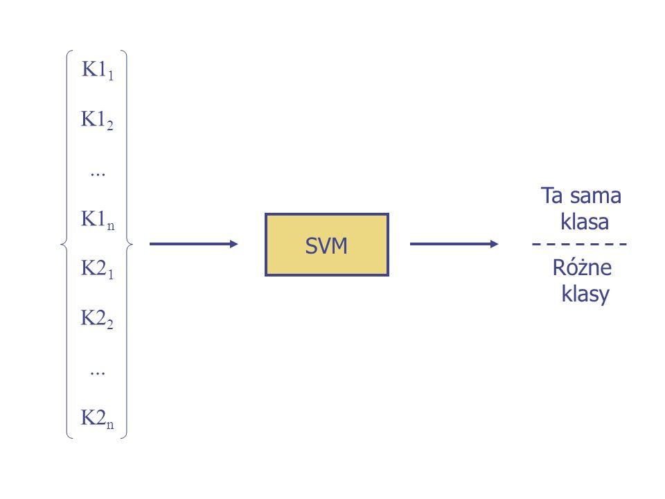 SVM Ta sama klasa Różne klasy K1 1 - K2 1... K1 2 - K2 2 K1 n - K2 n