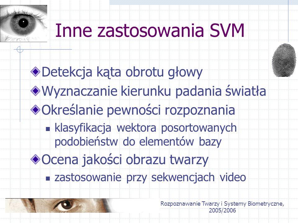 Rozpoznawanie Twarzy i Systemy Biometryczne, 2005/2006 Wyniki Znaczna poprawa dla metody opartej o Gabor Wavelets Brak zadowalających rezultatów dla Eigenfaces prawdopodobna przyczyna: niereprezentatywna próbka