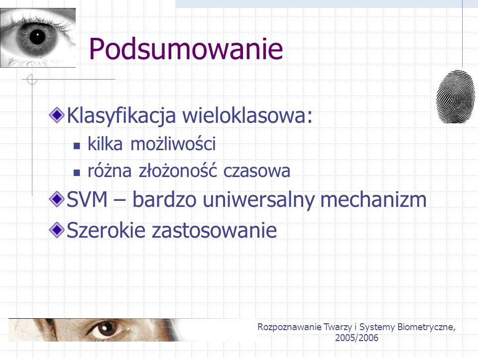 Rozpoznawanie Twarzy i Systemy Biometryczne, 2005/2006 Dziękuję za uwagę!