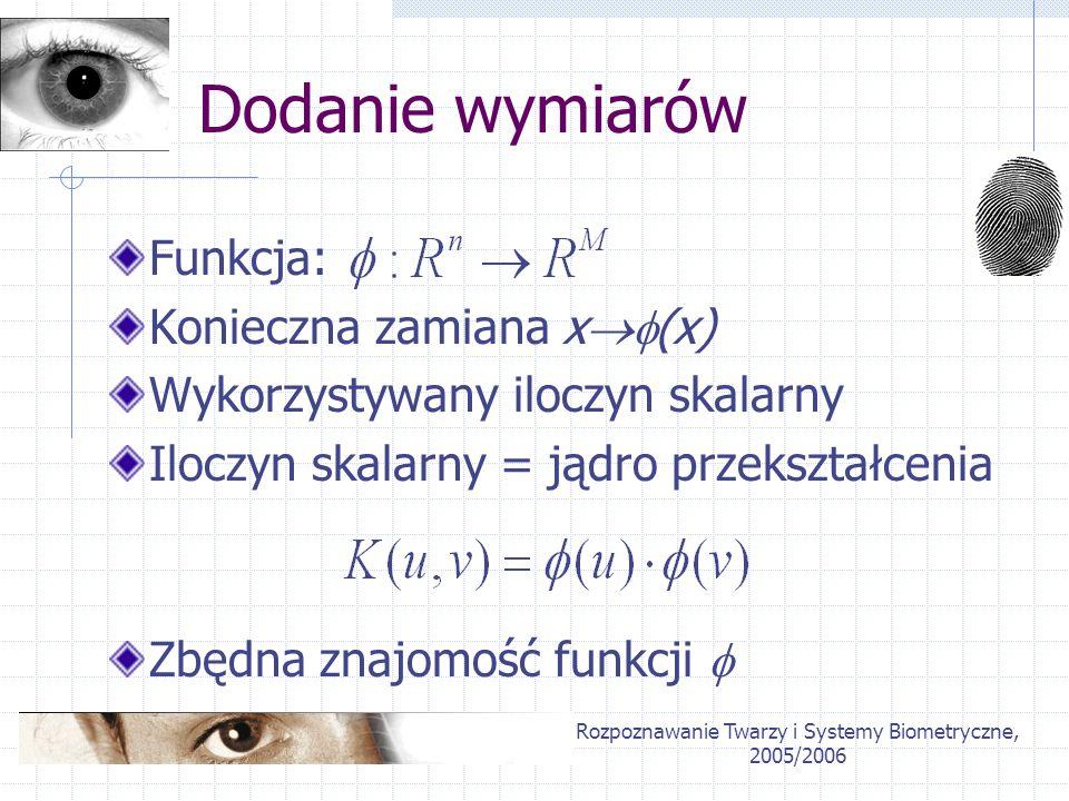 Rozpoznawanie Twarzy i Systemy Biometryczne, 2005/2006 Jądra przekształceń Liniowe Wielomianowe RBF (radial basis functions)
