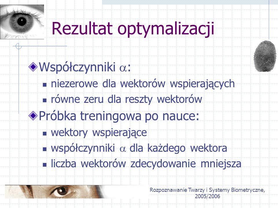 Rozpoznawanie Twarzy i Systemy Biometryczne, 2005/2006 Nauka 1... n