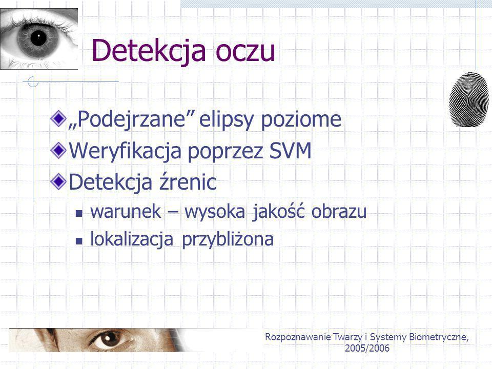 Rozpoznawanie Twarzy i Systemy Biometryczne, 2005/2006 Detekcja oczu Podejrzane elipsy poziome Weryfikacja poprzez SVM Detekcja źrenic warunek – wysok