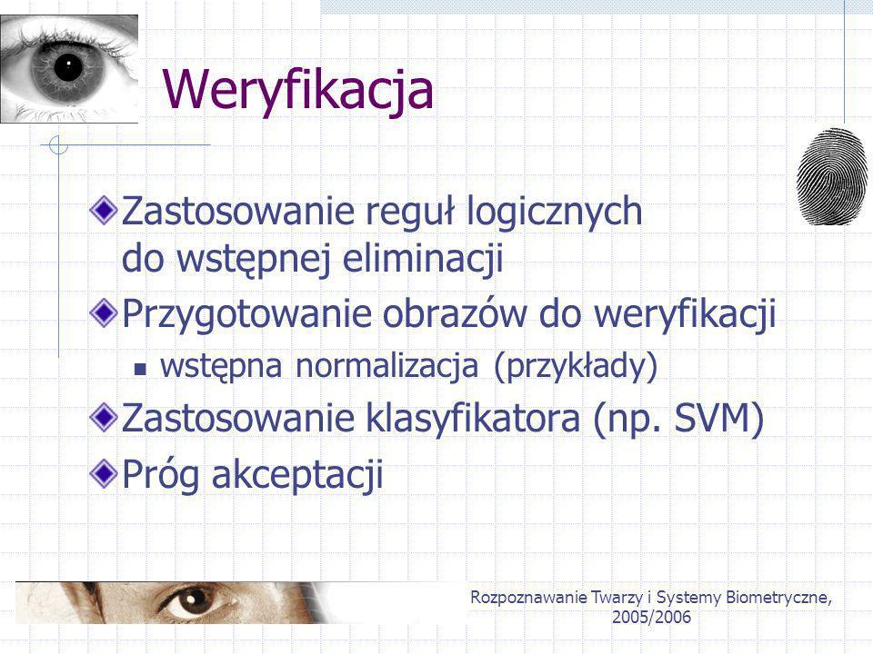 Rozpoznawanie Twarzy i Systemy Biometryczne, 2005/2006 Weryfikacja Zastosowanie reguł logicznych do wstępnej eliminacji Przygotowanie obrazów do weryf