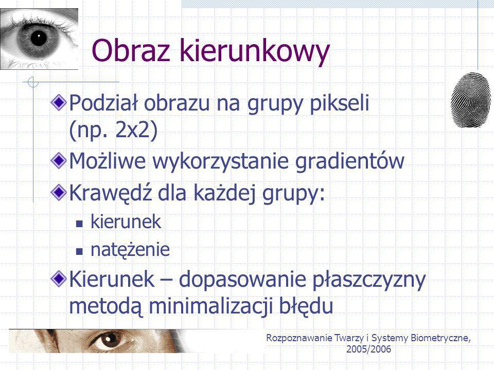 Rozpoznawanie Twarzy i Systemy Biometryczne, 2005/2006 Obraz kierunkowy Podział obrazu na grupy pikseli (np. 2x2) Możliwe wykorzystanie gradientów Kra