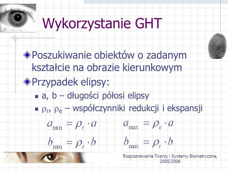 Rozpoznawanie Twarzy i Systemy Biometryczne, 2005/2006 Wykorzystanie GHT Poszukiwanie obiektów o zadanym kształcie na obrazie kierunkowym Przypadek el