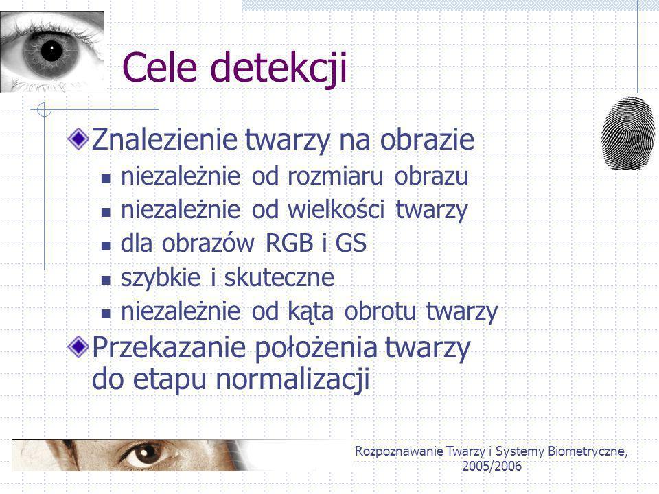 Rozpoznawanie Twarzy i Systemy Biometryczne, 2005/2006 Cele detekcji Znalezienie twarzy na obrazie niezależnie od rozmiaru obrazu niezależnie od wielk