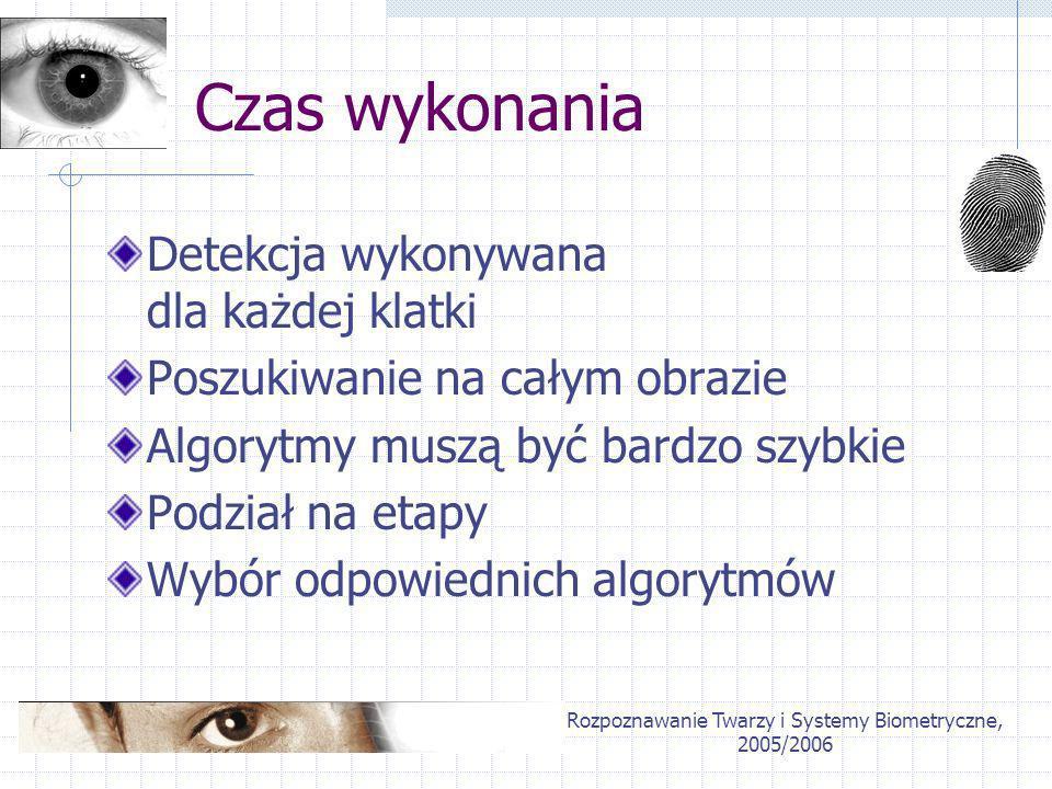 Rozpoznawanie Twarzy i Systemy Biometryczne, 2005/2006 Czas wykonania Detekcja wykonywana dla każdej klatki Poszukiwanie na całym obrazie Algorytmy mu