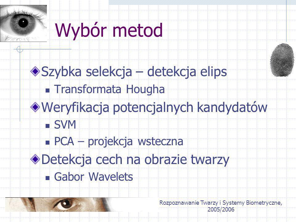 Rozpoznawanie Twarzy i Systemy Biometryczne, 2005/2006 Wybór metod Szybka selekcja – detekcja elips Transformata Hougha Weryfikacja potencjalnych kand