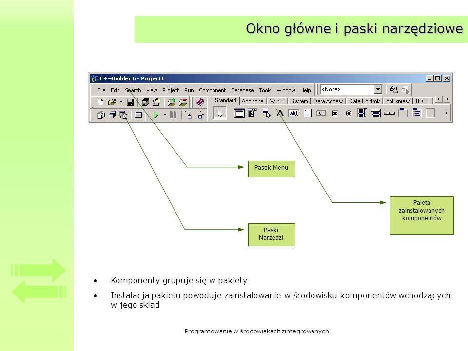 Programowanie w środowiskach zintegrowanych Okno główne i paski narzędziowe Pasek Menu Paski Narzędzi Paleta zainstalowanych komponentów Komponenty grupuje się w pakiety Instalacja pakietu powoduje zainstalowanie w środowisku komponentów wchodzących w jego skład