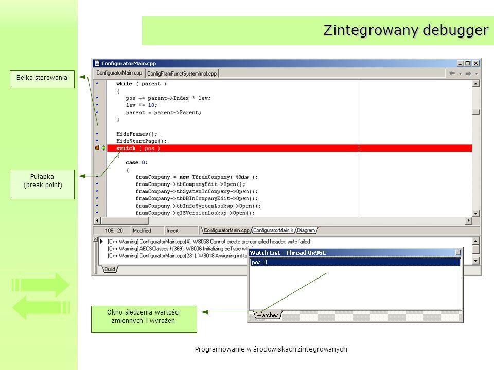 Programowanie w środowiskach zintegrowanych Zintegrowany debugger Belka sterowania Pułapka (break point) Okno śledzenia wartości zmiennych i wyrażeń
