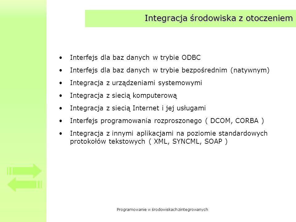 Programowanie w środowiskach zintegrowanych Integracja środowiska z otoczeniem Interfejs dla baz danych w trybie ODBC Interfejs dla baz danych w trybie bezpośrednim (natywnym) Integracja z urządzeniami systemowymi Integracja z siecią komputerową Integracja z siecią Internet i jej usługami Interfejs programowania rozproszonego ( DCOM, CORBA ) Integracja z innymi aplikacjami na poziomie standardowych protokołów tekstowych ( XML, SYNCML, SOAP )