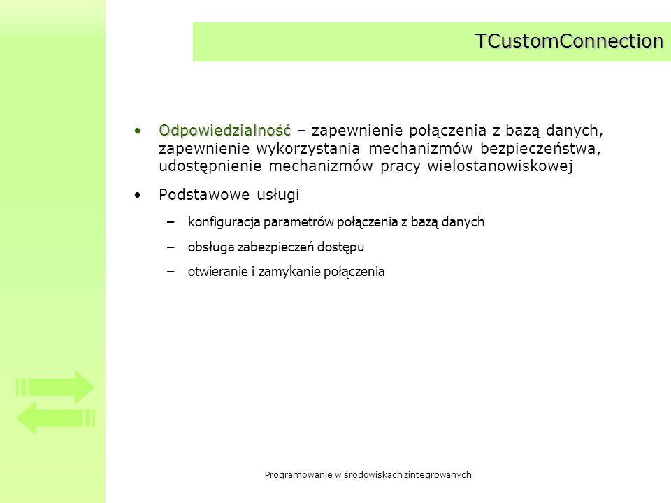 Programowanie w środowiskach zintegrowanych Komponenty specjalizowane dziedziczące po TCustomConnection