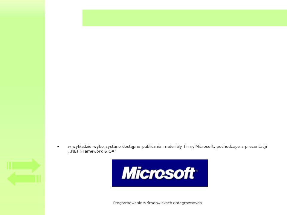 Programowanie w środowiskach zintegrowanych w wykładzie wykorzystano dostępne publicznie materiały firmy Microsoft, pochodzące z prezentacji.NET Framework & C#