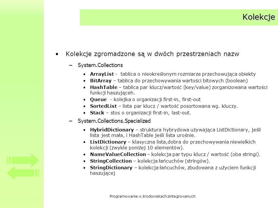 Programowanie w środowiskach zintegrowanych Kolekcje Kolekcje zgromadzone są w dwóch przestrzeniach nazw –System.Collections ArrayList - tablica o nie