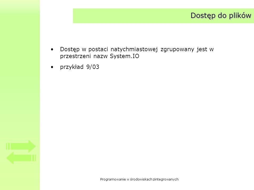 Programowanie w środowiskach zintegrowanych Dostęp do plików Dostęp w postaci natychmiastowej zgrupowany jest w przestrzeni nazw System.IO przykład 9/