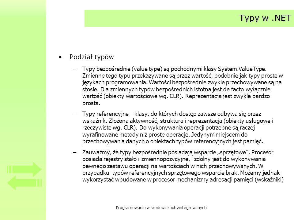 Programowanie w środowiskach zintegrowanych Typy w.NET Podział typów –Typy bezpośrednie (value type) są pochodnymi klasy System.ValueType. Zmienne teg