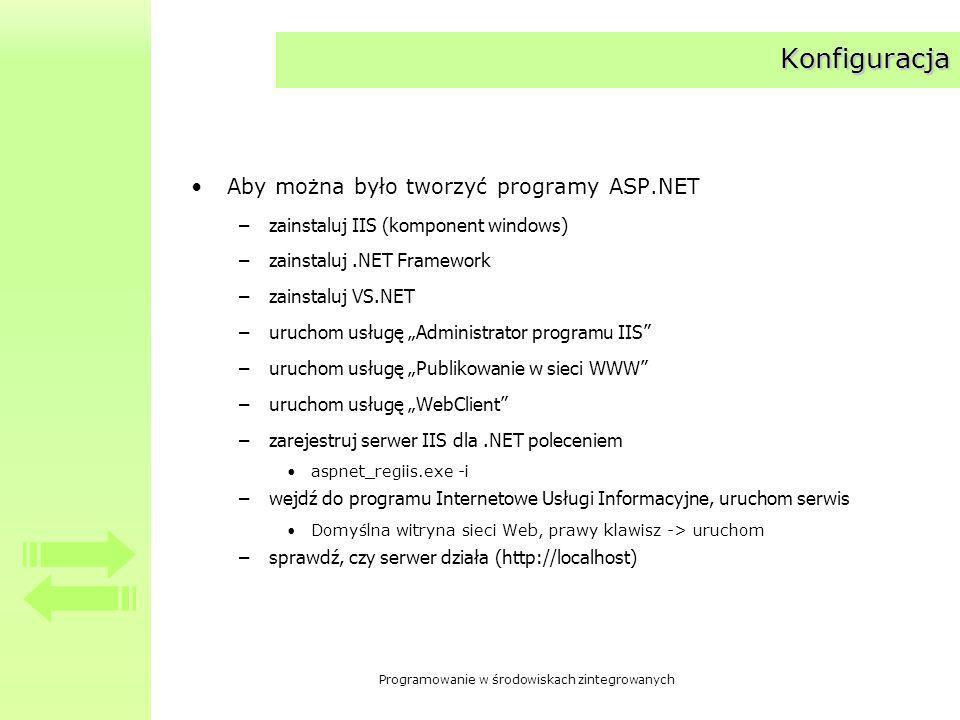 Programowanie w środowiskach zintegrowanych Konfiguracja Aby można było tworzyć programy ASP.NET –zainstaluj IIS (komponent windows) –zainstaluj.NET Framework –zainstaluj VS.NET –uruchom usługę Administrator programu IIS –uruchom usługę Publikowanie w sieci WWW –uruchom usługę WebClient –zarejestruj serwer IIS dla.NET poleceniem aspnet_regiis.exe -i –wejdź do programu Internetowe Usługi Informacyjne, uruchom serwis Domyślna witryna sieci Web, prawy klawisz -> uruchom –sprawdź, czy serwer działa (http://localhost)