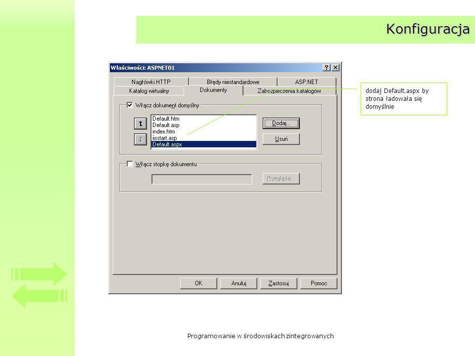 Programowanie w środowiskach zintegrowanych Konfiguracja dodaj Default.aspx by strona ładowała się domyślnie