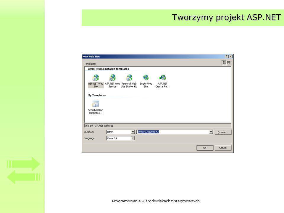 Programowanie w środowiskach zintegrowanych Tworzymy projekt ASP.NET