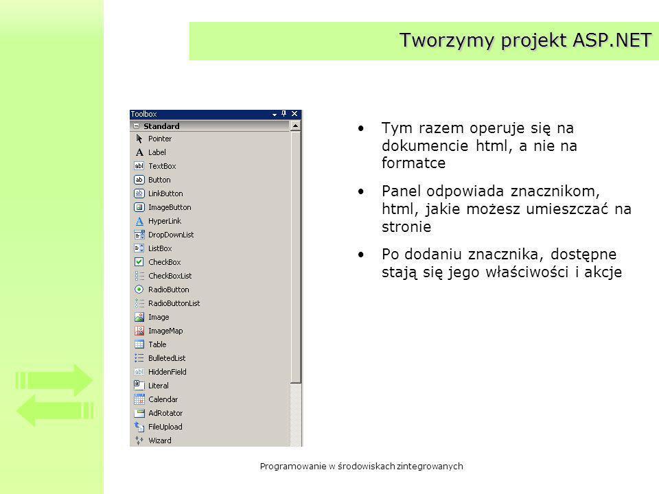 Programowanie w środowiskach zintegrowanych Tworzymy projekt ASP.NET Tym razem operuje się na dokumencie html, a nie na formatce Panel odpowiada znacznikom, html, jakie możesz umieszczać na stronie Po dodaniu znacznika, dostępne stają się jego właściwości i akcje