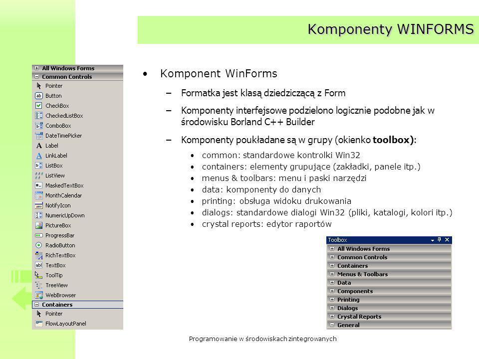 Programowanie w środowiskach zintegrowanych Komponenty WINFORMS Komponent WinForms –Formatka jest klasą dziedziczącą z Form –Komponenty interfejsowe podzielono logicznie podobne jak w środowisku Borland C++ Builder –Komponenty poukładane są w grupy (okienko toolbox): common: standardowe kontrolki Win32 containers: elementy grupujące (zakładki, panele itp.) menus & toolbars: menu i paski narzędzi data: komponenty do danych printing: obsługa widoku drukowania dialogs: standardowe dialogi Win32 (pliki, katalogi, kolori itp.) crystal reports: edytor raportów