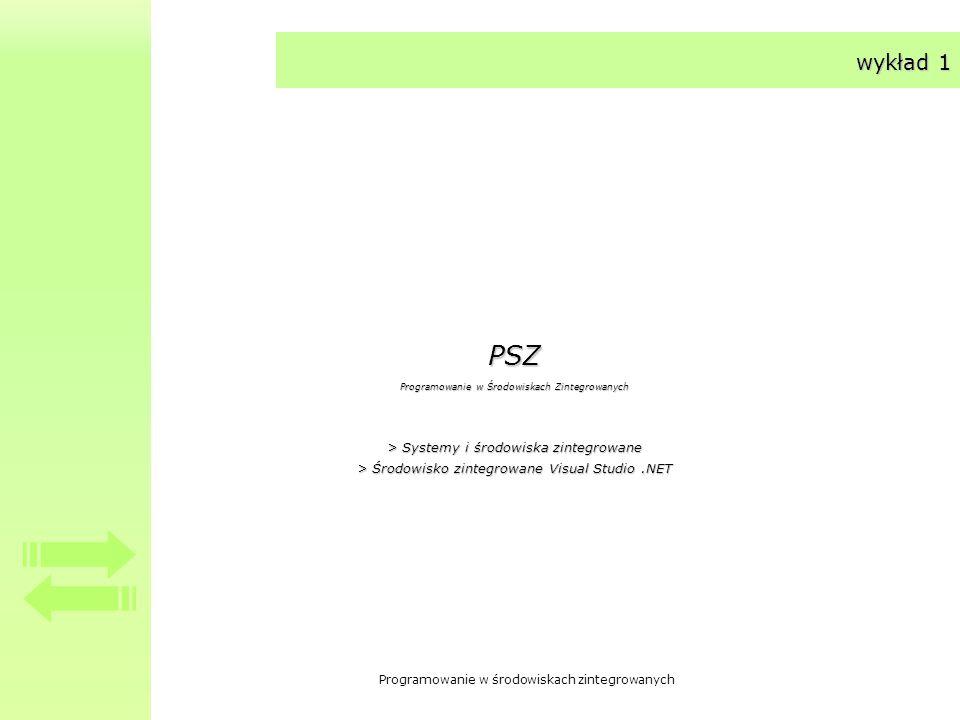 Programowanie w środowiskach zintegrowanych wykład 1 PSZ Programowanie w Środowiskach Zintegrowanych > Systemy i środowiska zintegrowane > Środowisko