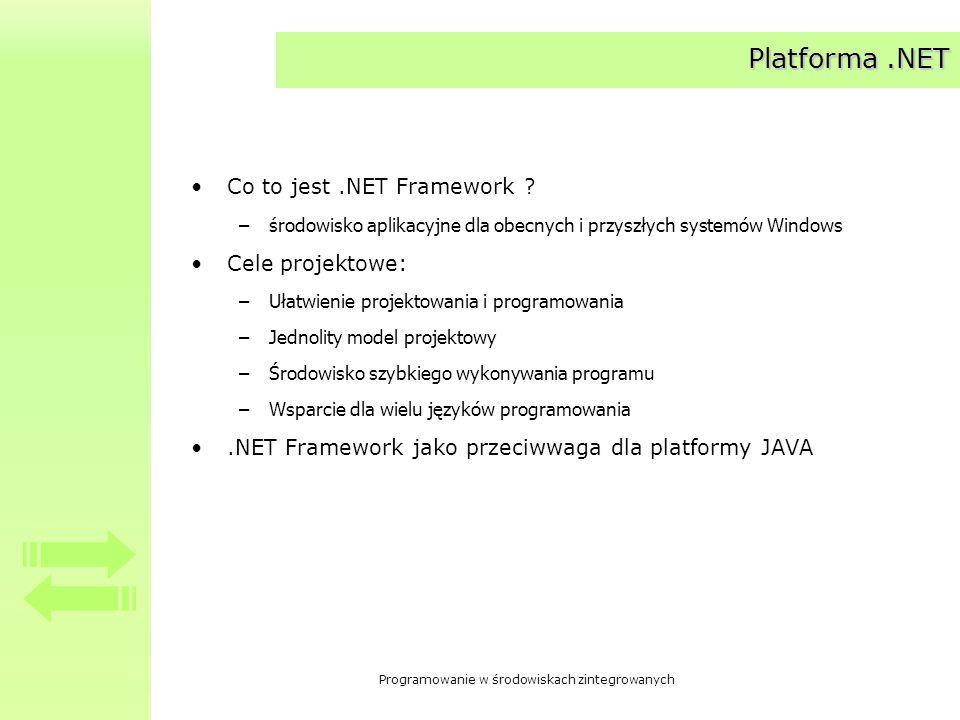Programowanie w środowiskach zintegrowanych Platforma.NET Co to jest.NET Framework ? –środowisko aplikacyjne dla obecnych i przyszłych systemów Window