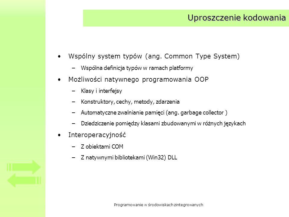 Programowanie w środowiskach zintegrowanych Uproszczenie kodowania Wspólny system typów (ang. Common Type System) –Wspólna definicja typów w ramach pl
