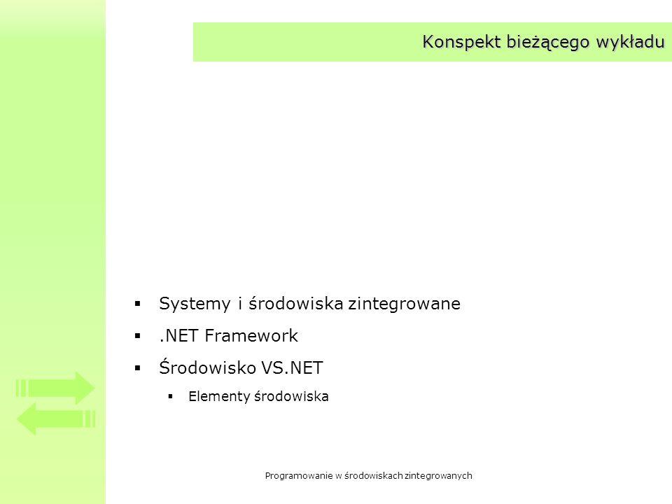 Programowanie w środowiskach zintegrowanych Konspekt bieżącego wykładu Systemy i środowiska zintegrowane.NET Framework Środowisko VS.NET Elementy środ