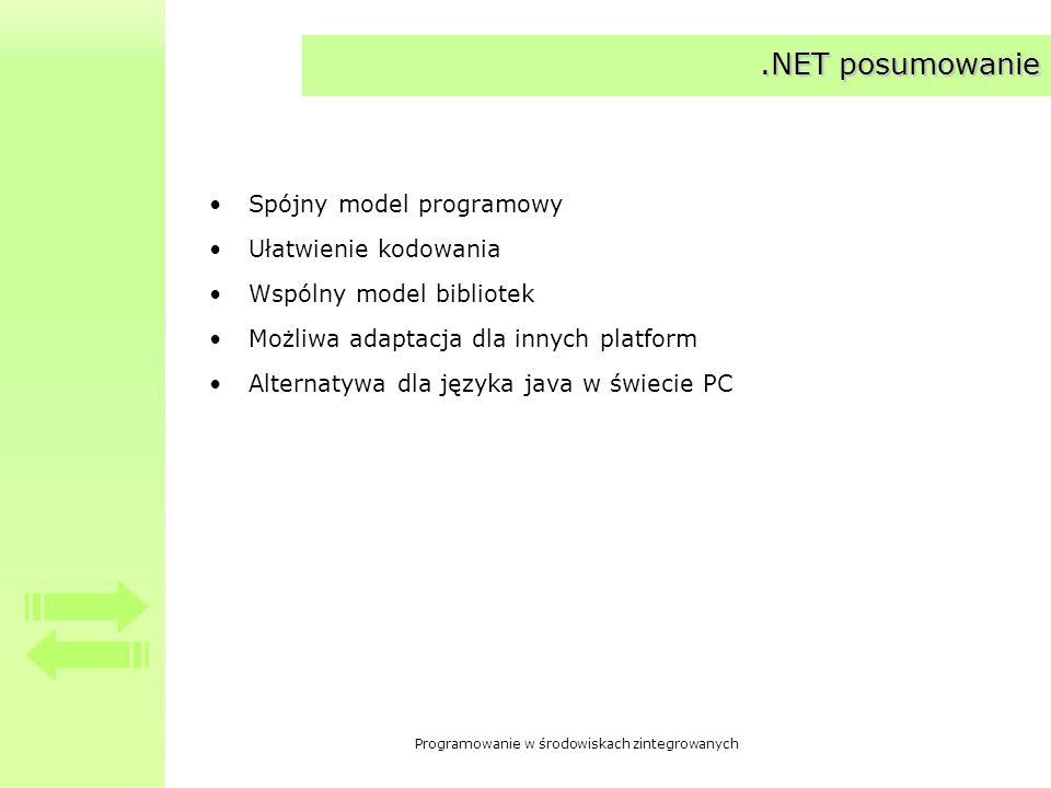 Programowanie w środowiskach zintegrowanych.NET posumowanie Spójny model programowy Ułatwienie kodowania Wspólny model bibliotek Możliwa adaptacja dla
