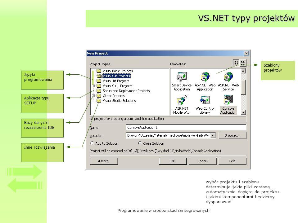 Programowanie w środowiskach zintegrowanych VS.NET typy projektów Języki programowania Szablony projektów Aplikacje typu SETUP Bazy danych i rozszerze