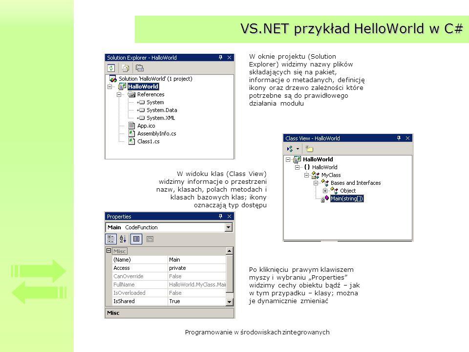 Programowanie w środowiskach zintegrowanych VS.NET przykład HelloWorld w C# W oknie projektu (Solution Explorer) widzimy nazwy plików składających się