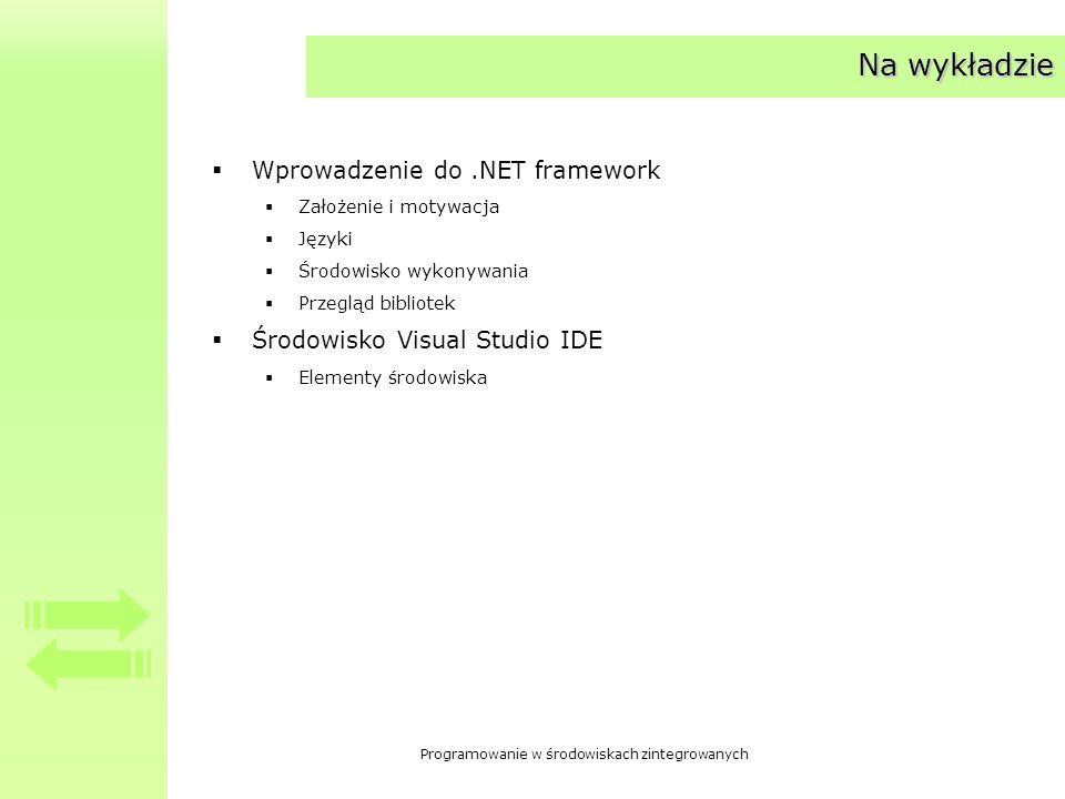 Programowanie w środowiskach zintegrowanych Na wykładzie Wprowadzenie do.NET framework Założenie i motywacja Języki Środowisko wykonywania Przegląd bi