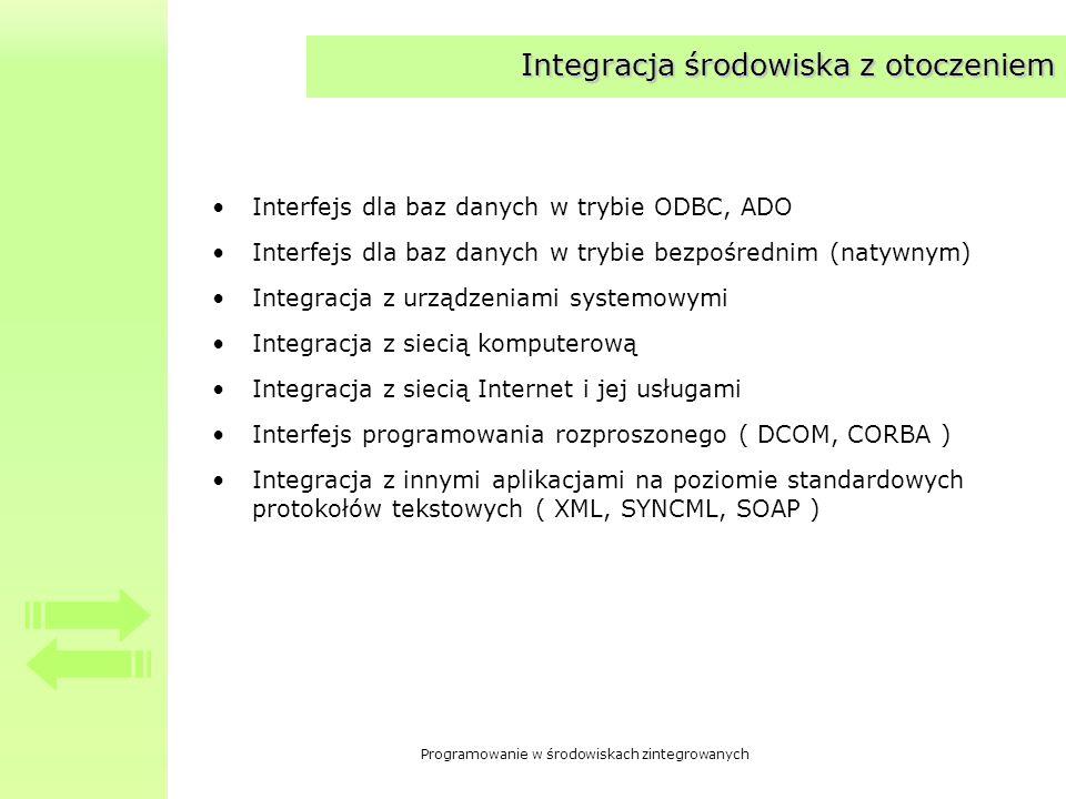 Programowanie w środowiskach zintegrowanych Integracja środowiska z otoczeniem Interfejs dla baz danych w trybie ODBC, ADO Interfejs dla baz danych w