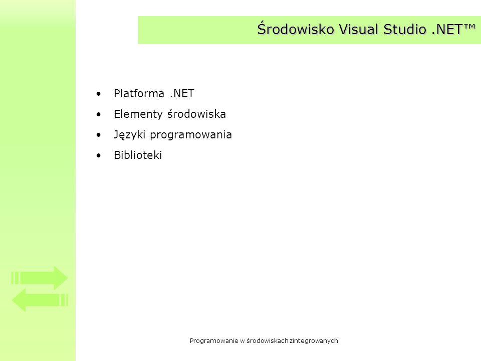 Programowanie w środowiskach zintegrowanych Środowisko Visual Studio.NET Platforma.NET Elementy środowiska Języki programowania Biblioteki