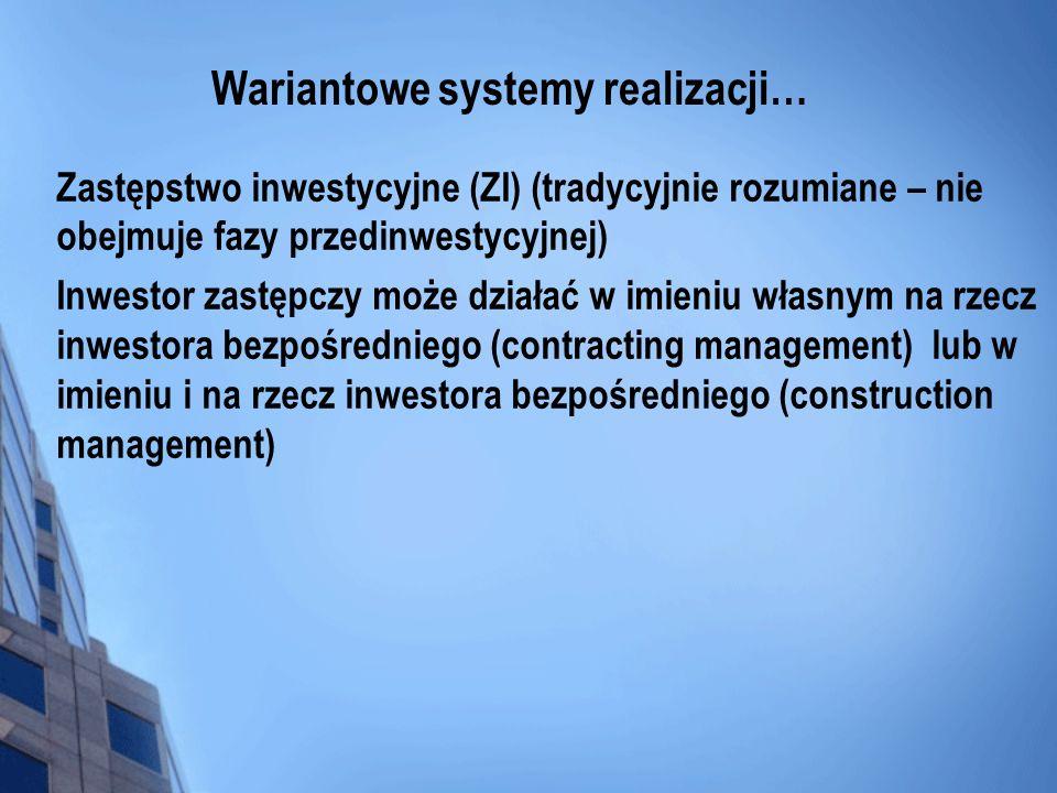 Wariantowe systemy realizacji… Zastępstwo inwestycyjne (ZI) (tradycyjnie rozumiane – nie obejmuje fazy przedinwestycyjnej) Inwestor zastępczy może dzi