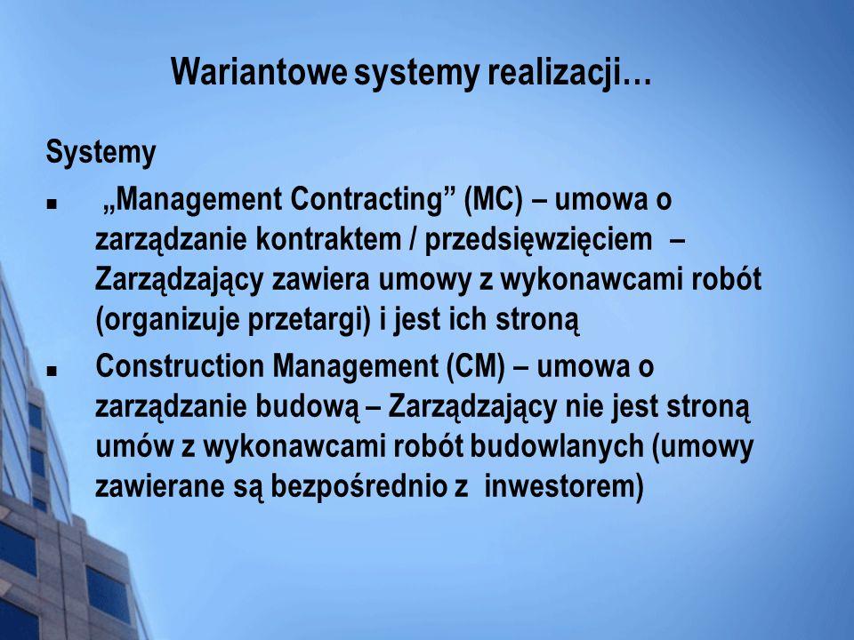 Wariantowe systemy realizacji… Systemy Management Contracting (MC) – umowa o zarządzanie kontraktem / przedsięwzięciem – Zarządzający zawiera umowy z