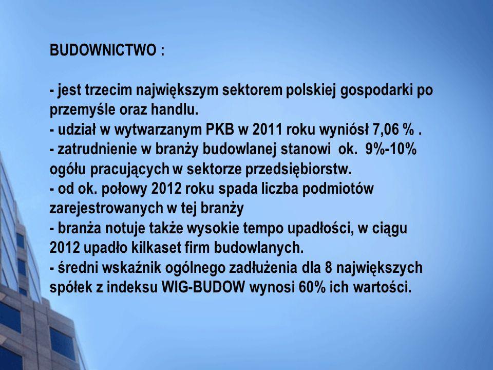 BUDOWNICTWO : - jest trzecim największym sektorem polskiej gospodarki po przemyśle oraz handlu. - udział w wytwarzanym PKB w 2011 roku wyniósł 7,06 %.