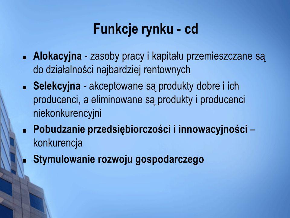 Funkcje rynku - cd Alokacyjna - zasoby pracy i kapitału przemieszczane są do działalności najbardziej rentownych Selekcyjna - akceptowane są produkty