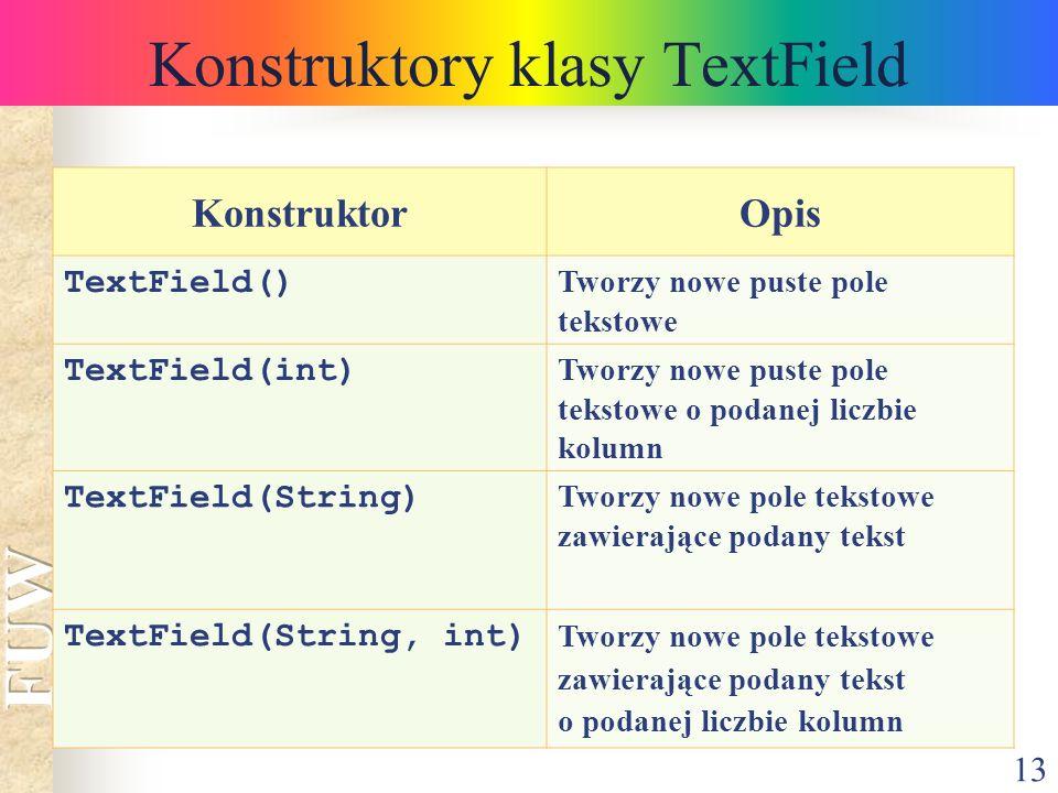 13 Konstruktory klasy TextField KonstruktorOpis TextField() Tworzy nowe puste pole tekstowe TextField(int) Tworzy nowe puste pole tekstowe o podanej l