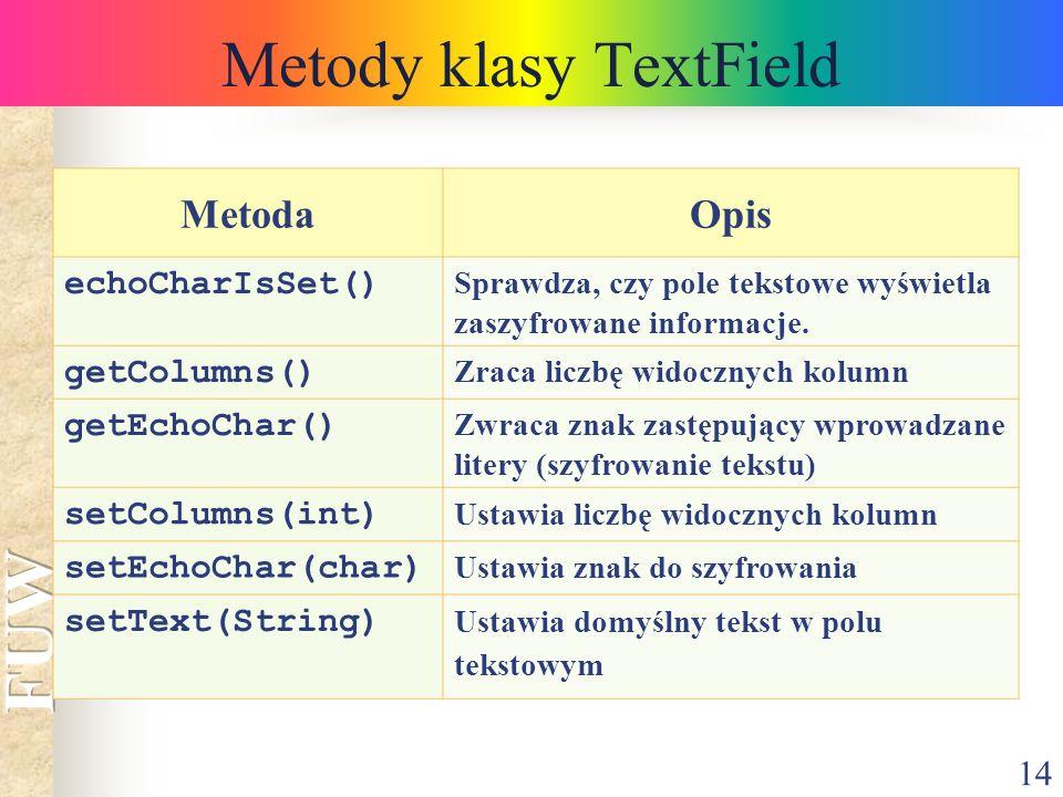 14 Metody klasy TextField MetodaOpis echoCharIsSet() Sprawdza, czy pole tekstowe wyświetla zaszyfrowane informacje. getColumns() Zraca liczbę widoczny