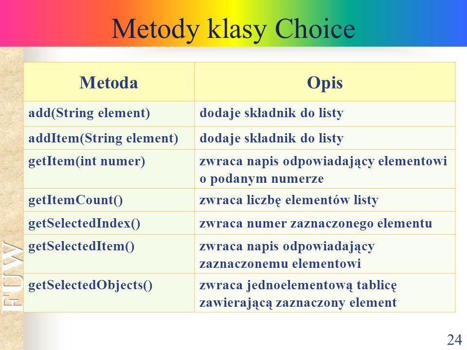 24 Metody klasy Choice MetodaOpis add(String element)dodaje składnik do listy addItem(String element)dodaje składnik do listy getItem(int numer)zwraca