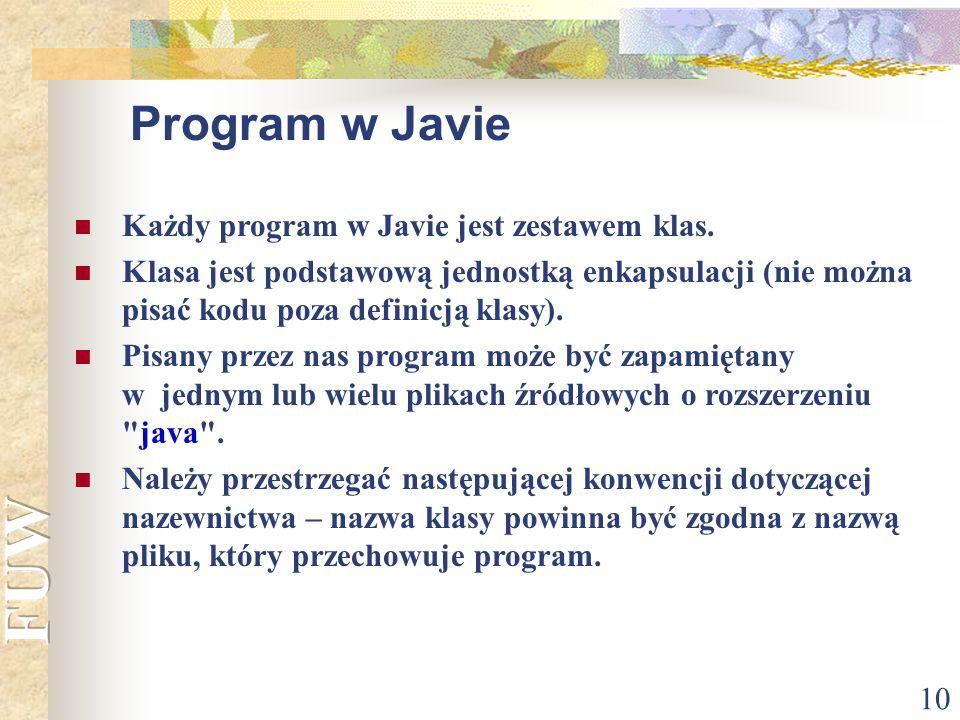 10 Każdy program w Javie jest zestawem klas. Klasa jest podstawową jednostką enkapsulacji (nie można pisać kodu poza definicją klasy). Pisany przez na