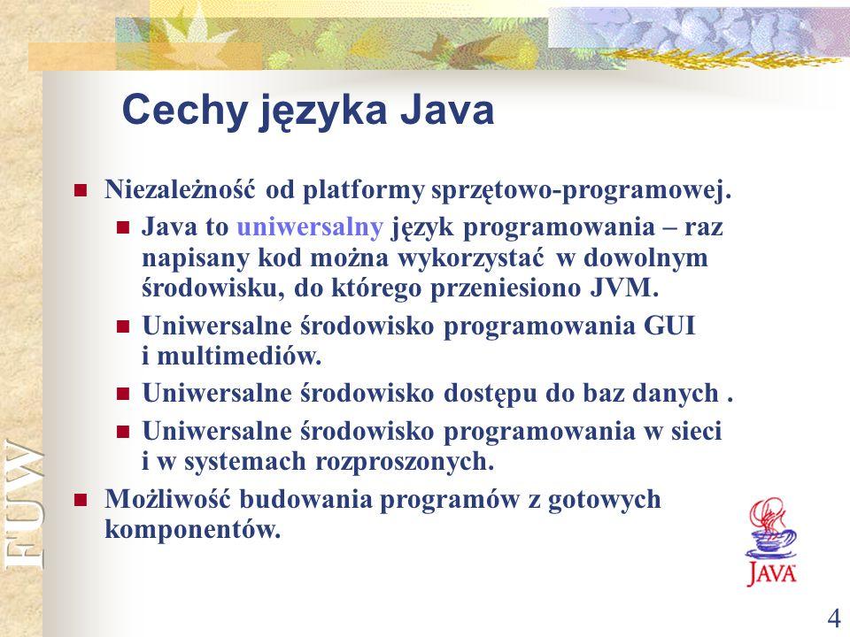 4 Niezależność od platformy sprzętowo-programowej. Java to uniwersalny język programowania – raz napisany kod można wykorzystać w dowolnym środowisku,