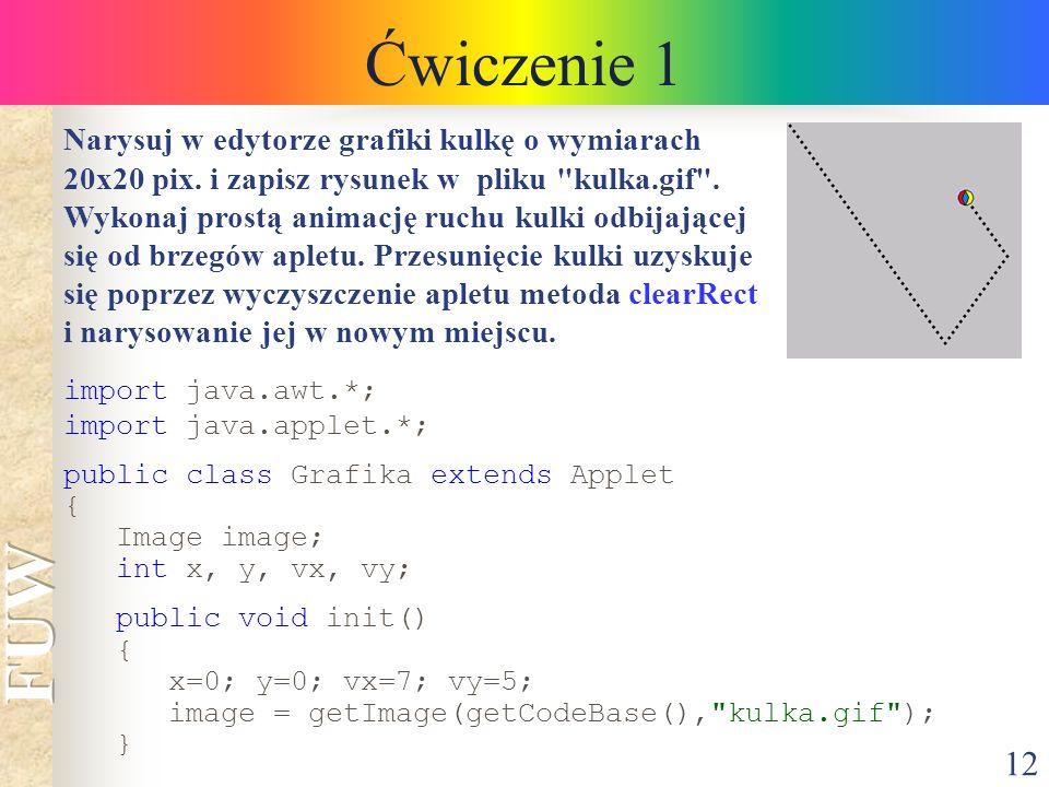 12 Ćwiczenie 1 Narysuj w edytorze grafiki kulkę o wymiarach 20x20 pix. i zapisz rysunek w pliku