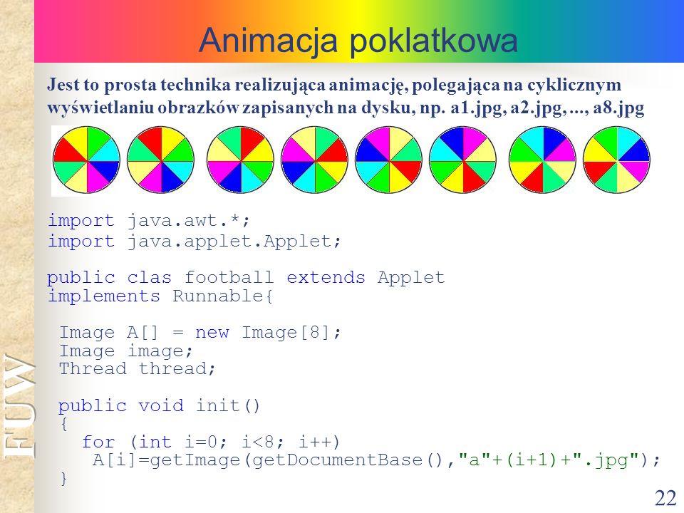 22 Animacja poklatkowa Jest to prosta technika realizująca animację, polegająca na cyklicznym wyświetlaniu obrazków zapisanych na dysku, np. a1.jpg, a