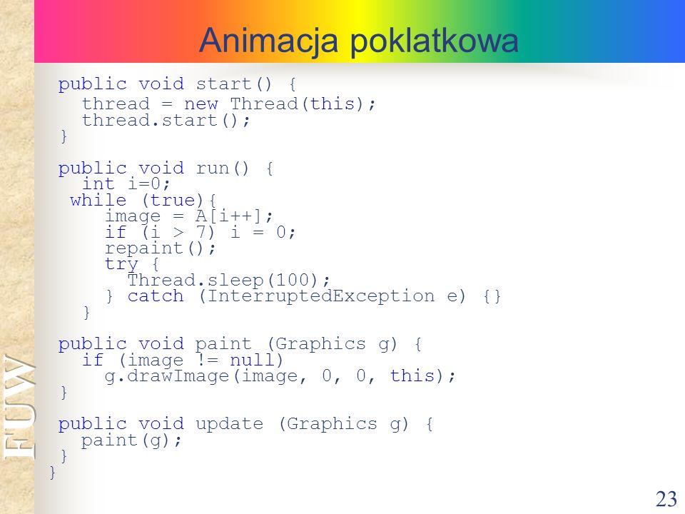 23 Animacja poklatkowa public void start() { thread = new Thread(this); thread.start(); } public void run() { int i=0; while (true){ image = A[i++]; i
