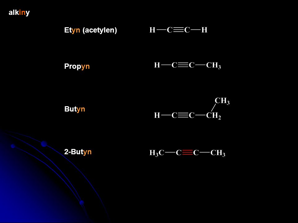 alkeny Eten (etylen) Propen (propylen) Buten 2-Buten (Z)-2-Buten (E)-2-Buten